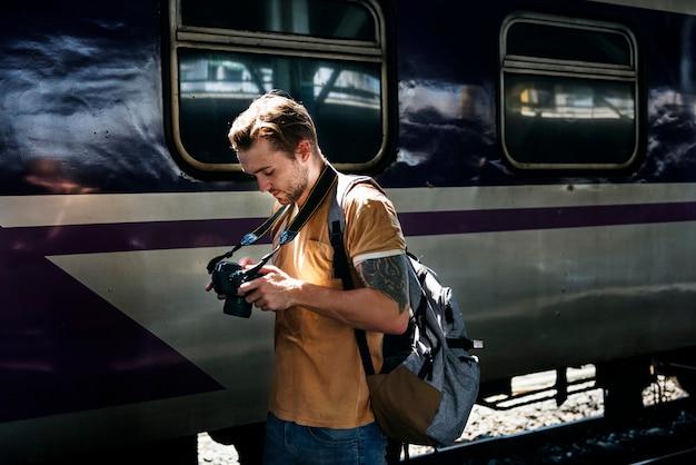 Fotógrafo camera dslr shooting journalist concept