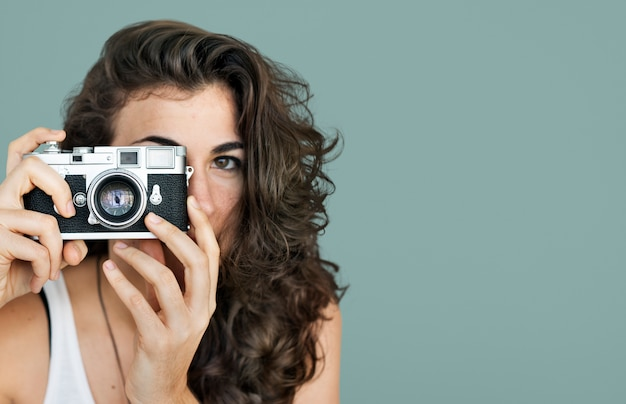 Fotógrafo de mulher camera focus photography concept