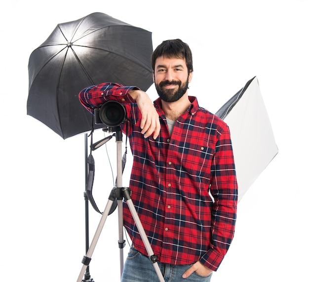 Fotógrafo em seu estúdio