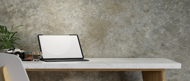 Fotógrafo freelance mesa de trabalho maquete de tablet cópia espaço câmera loft parede renderização em 3d