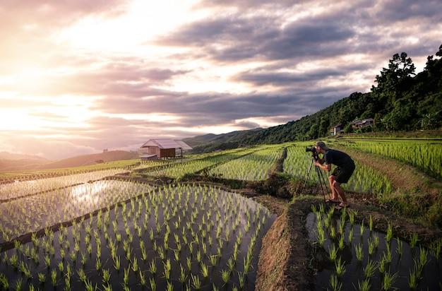 Fotógrafo tirando foto em um campo de arroz durante o pôr do sol e o crepúsculo