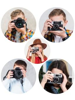 Fotógrafos de design de colagem de pessoas