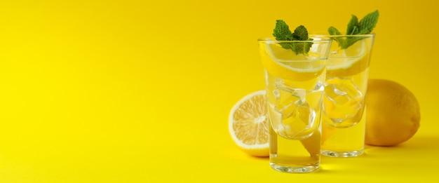 Fotos com rodela de limão e hortelã em fundo amarelo