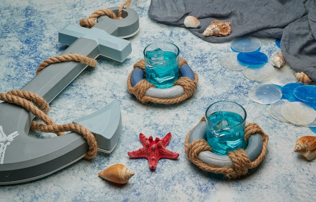 Fotos de verão azul na composição da praia