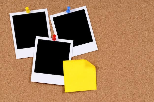 Fotos instantâneas com nota adesiva