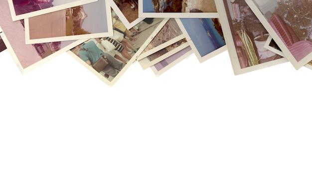 Fotos velhas e vintage coloridas com fundo branco.