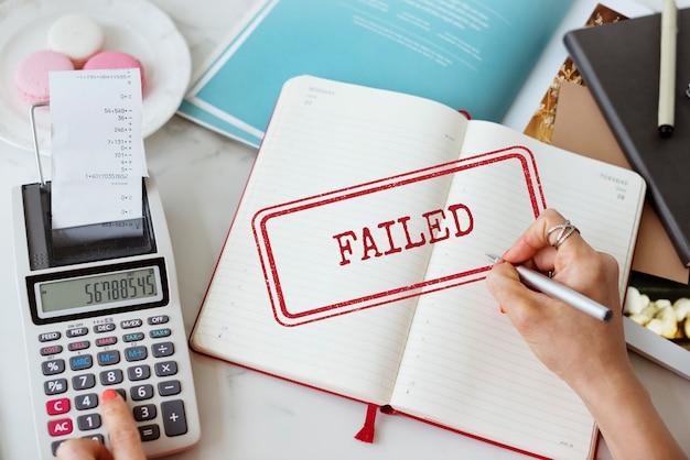 Fracasso break down fiasco conceito de falha de falha