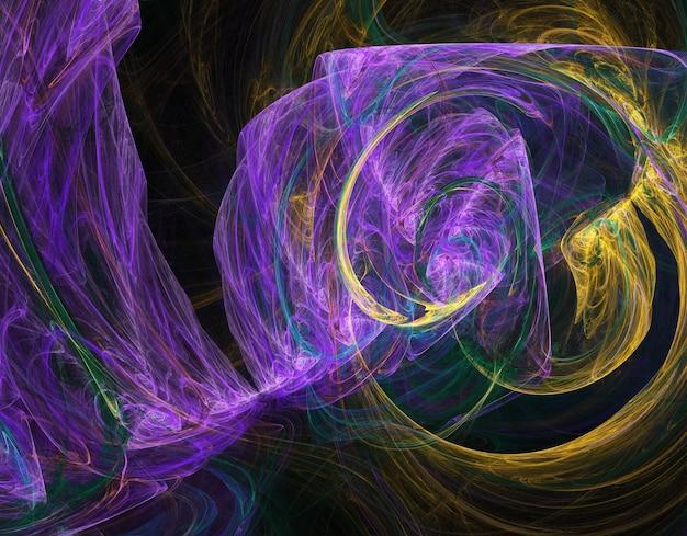Fractal colorido abstrato curvas redondas e linhas em fundo preto