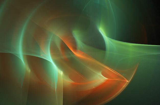 Fractal colorido abstrato curvas redondas e linhas em preto Foto Premium