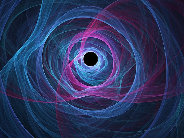 Fractal colorido abstrato redondo curvas e linhas em fundo preto
