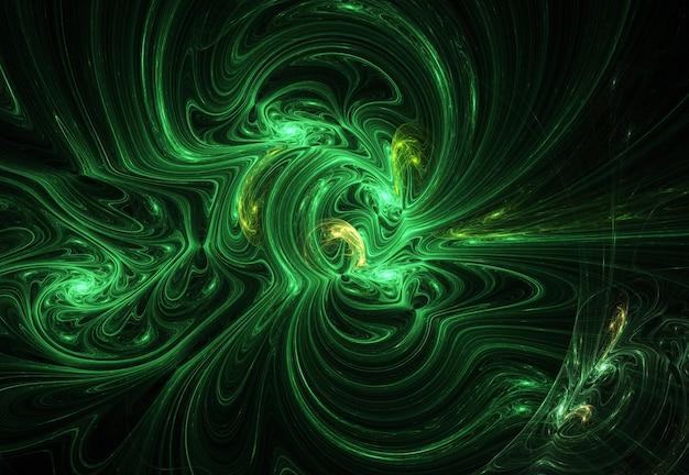 Fractal curvas abstratas verdes e linhas em fundo preto