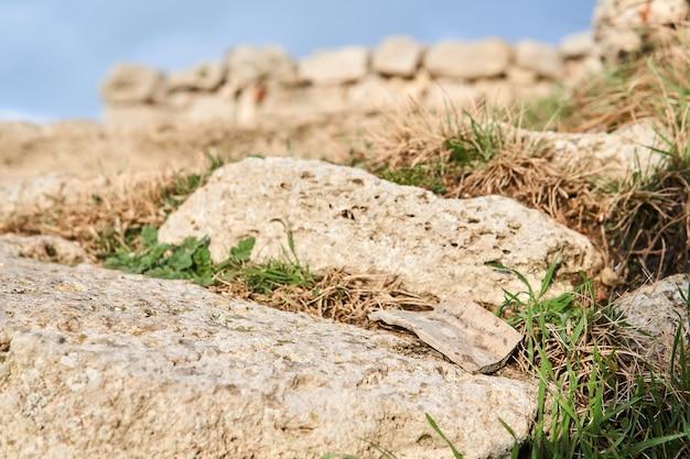 Fragmento de cerâmica antiga em uma pedra entre a grama, em um fundo de ruínas antigas embaçadas