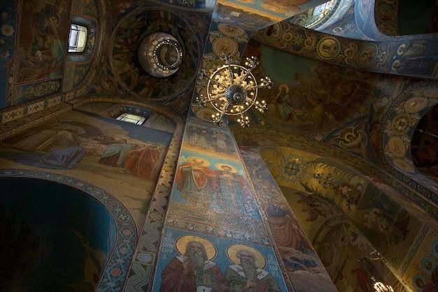 Fragmento do interior da cúpula da catedral de kazan, em são petersburgo.