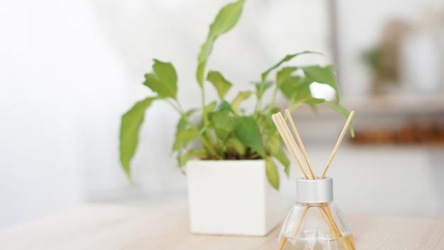 Fragrância adere em frasco de vidro com flor em um vaso no fundo branco. palitos de ambientador. foco seletivo