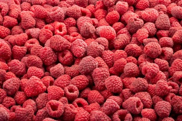 Framboesa fresca congelada. fundo de alimentos de frutas.