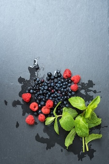 Framboesas frescas, mirtilos, folhas de hortelã com gotas de água