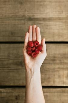 Framboesas frescas na mão de uma mulher