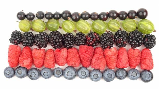 Framboesas, groselhas, amoras, groselhas e mirtilos em fileiras em um fundo branco. alimentos e vegetais frescos saudáveis