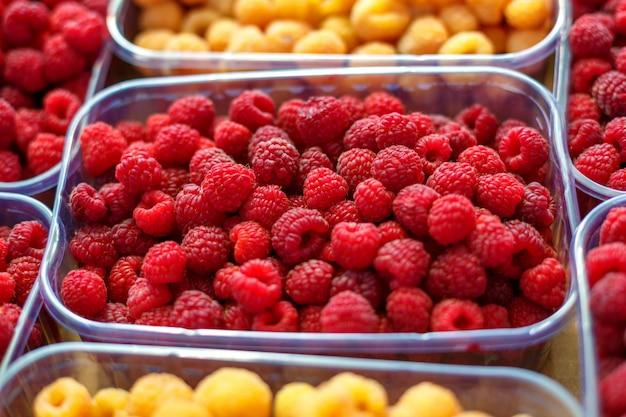 Framboesas vermelhas e amarelas em caixas, conceito de comida saudável.