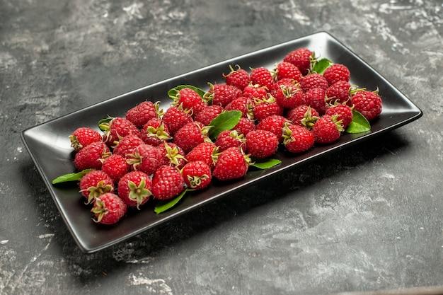 Framboesas vermelhas frescas de vista frontal dentro de uma bandeja preta na cor cinza da fruta cranberry wild photo berry