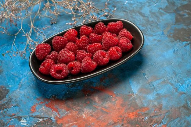 Framboesas vermelhas frescas de vista frontal dentro de uma placa preta sobre fundo azul foto de frutas planta cor da árvore baga selvagem