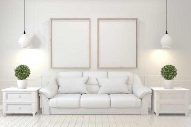 Frame de madeira vazio, sofá, planta e lâmpada na sala vazia com parede branca.