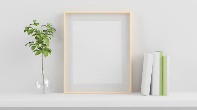Frame mock up em uma prateleira renderização em 3d