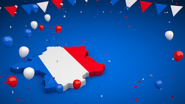 França 3d com galhardetes de balões e parede de confetes