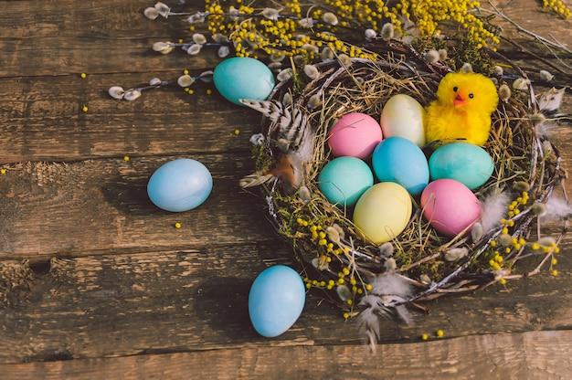 Frango bonito amarelo com ovos de páscoa no ninho. no contexto de uma placa de madeira.