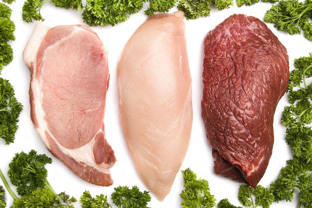 Frango, carne, porco