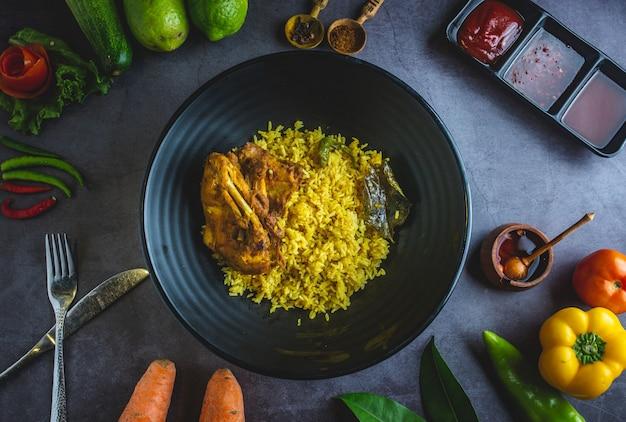 Frango com limão e arroz