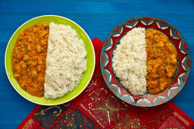 Frango curry prato receita indiana em azul