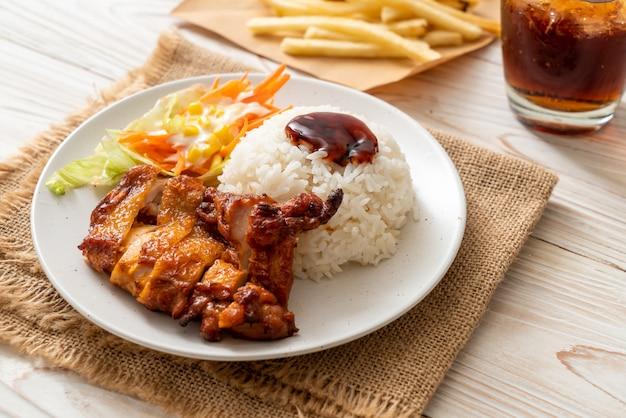 Frango grelhado com molho teriyaki e arroz