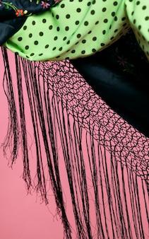 Franjas de xale de manila de close-up