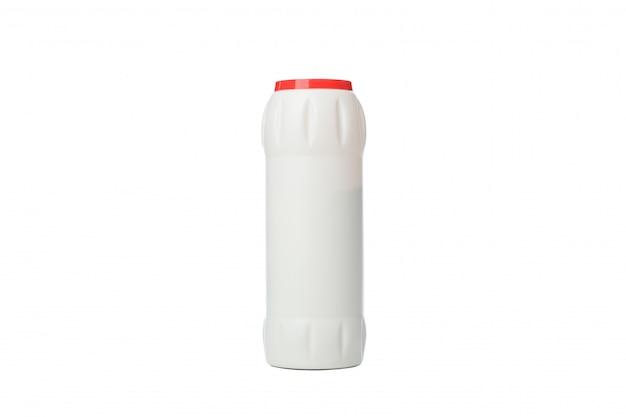 Frasco com detergente em pó isolado no branco