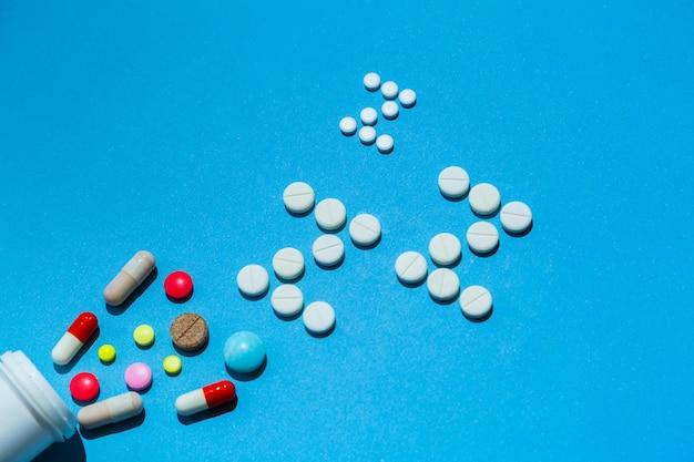 Frasco com diferentes tipos de pílulas para dormir com espaço livre para o texto de uma receita médica