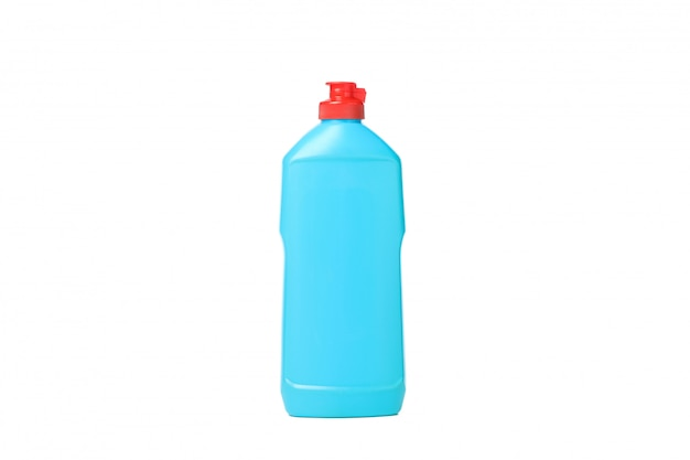 Frasco com líquido detergente isolado no branco