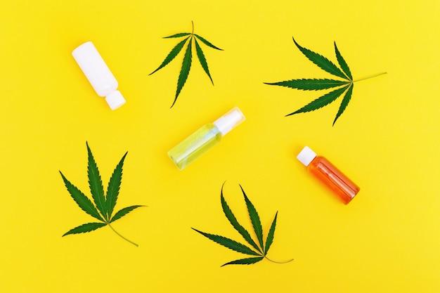 Frasco com produto cosmético com óleo de cannabis