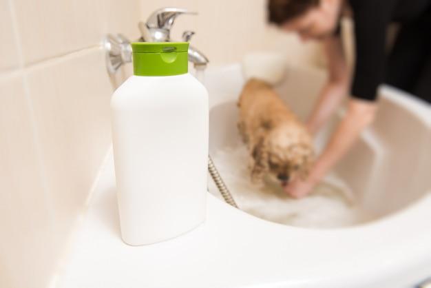 Frasco com shampoo no banheiro
