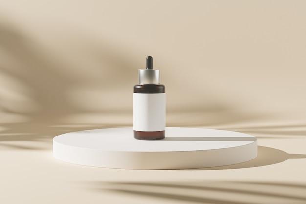 Frasco conta-gotas de maquete para produtos cosméticos ou publicidade em fundo bege de pódio com sombras de folhas, ilustração 3d render