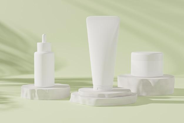 Frasco conta-gotas de maquete, tubo de loção e frasco de creme para produtos cosméticos ou publicidade em fundo verde pastel, ilustração 3d render