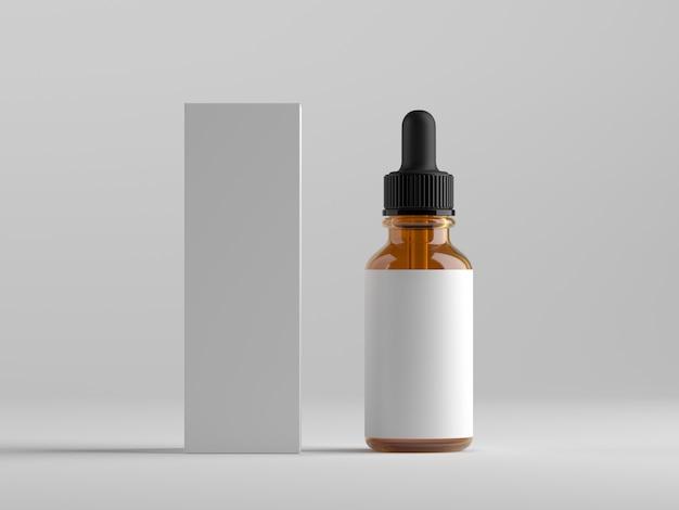 Frasco conta-gotas e caixa de embalagem na superfície branca
