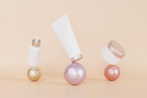 Frasco conta-gotas, tubo de loção e frasco de creme para produtos cosméticos balançando em esferas metálicas, ilustração 3d render