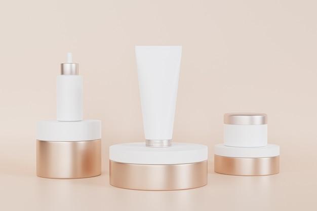 Frasco conta-gotas, tubo de loção e frasco de creme para produtos cosméticos em pódios dourados, ilustração 3d render