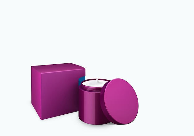 Frasco cosmético de nácar lilás profundo em branco simulado sobre fundo branco com creme de esfregaço no ângulo de visão frontal, ilustração 3d