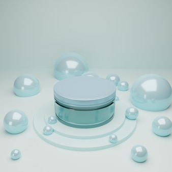Frasco cosmético de vidro azul no pódio com bolhas brilhantes azuis abstratas