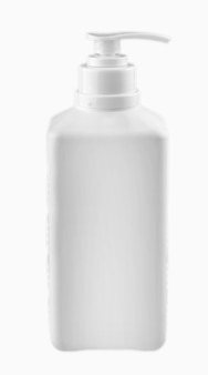 Frasco cosmético em branco isolado no fundo branco.