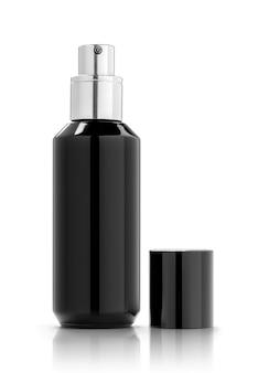 Frasco cosmético preto de embalagem em branco para maquete de design de produto isolado no fundo branco com traçado de recorte
