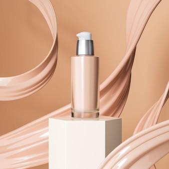 Frasco de base de maquiagem líquida com respingos de creme de base cosmética
