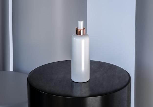 Frasco de cosmético em fundo preto pedestal Foto Premium